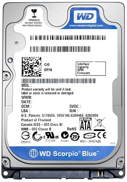 Жесткий диск Western Digital Scorpio Blue (WD1600BPVT) 160 Gb