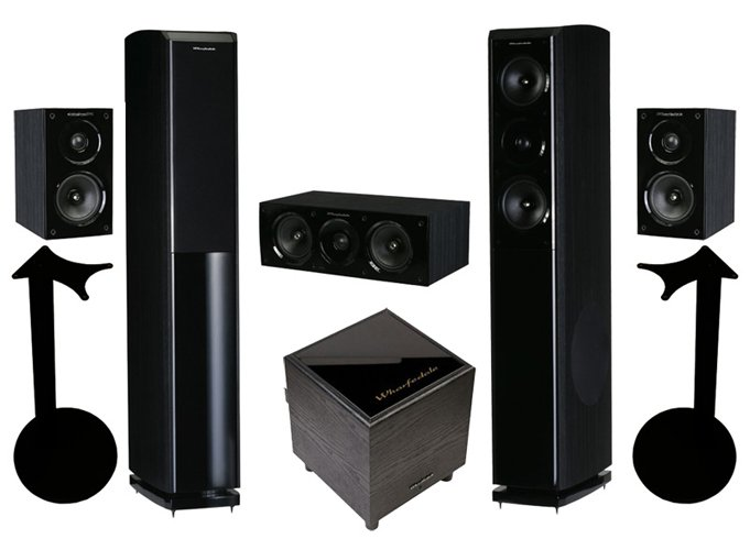 Акустический комплект Wharfedale Obsidian 600 Cinema Pack 5.1 w/stands blackwood
